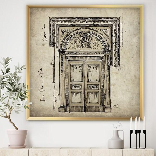 Designart 'Antique Door Old Style Sketch I' Traditional Framed Art Print