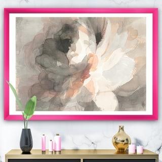 Designart 'Abstract Peony Grey' Pink Modern Framed Art Print
