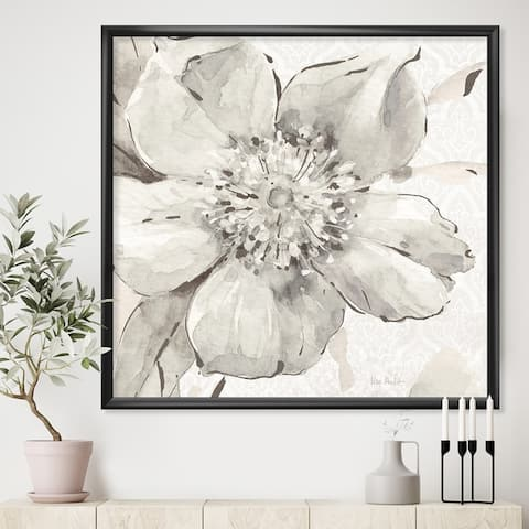 Designart 'Indigold Grey Peonies III' Farmhouse Framed Art Print