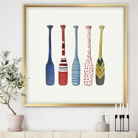 Designart 'Five Paddles' Lake House Framed Art Print
