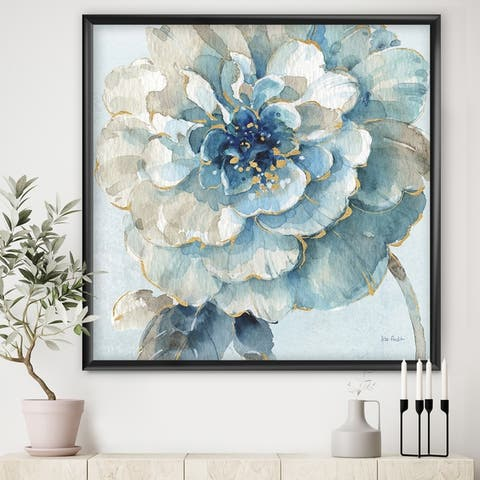 Designart 'Indigold Watercolor Flower II' Farmhouse Framed Art Print