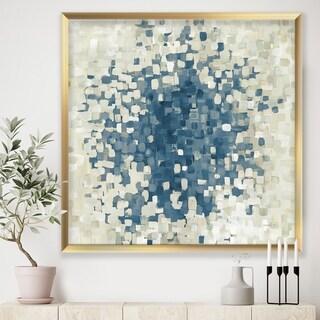 Designart 'Geometric Blue Spots' Modern & Contemporary Framed Art Print