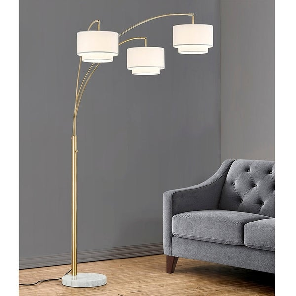 "Broadway 83""H 3 Light Arch Floor Lamp, Antique Brass Finish. Opens flyout."