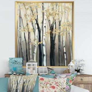 Designart 'Golden Birch Forest III' Farmhouse Framed Art Print