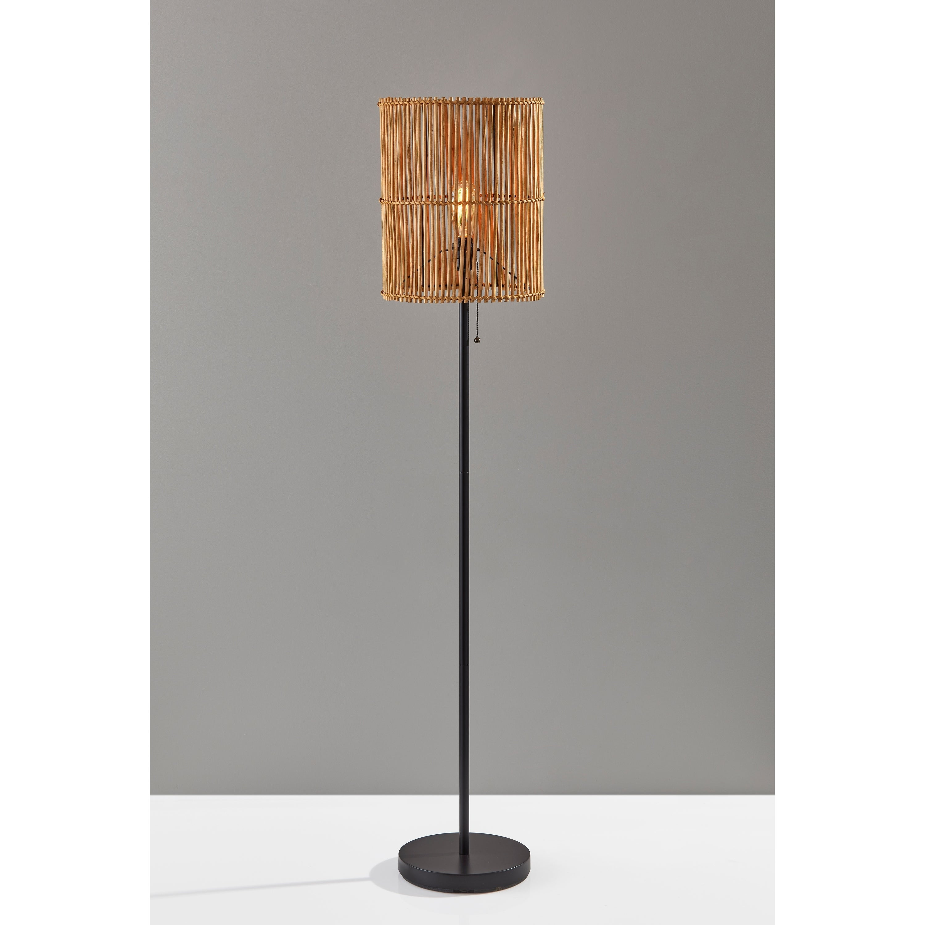 Image of: Shop Black Friday Deals On The Curated Nomad Sabla Dark Bronze Floor Lamp With Rattan Shade Overstock 30233560