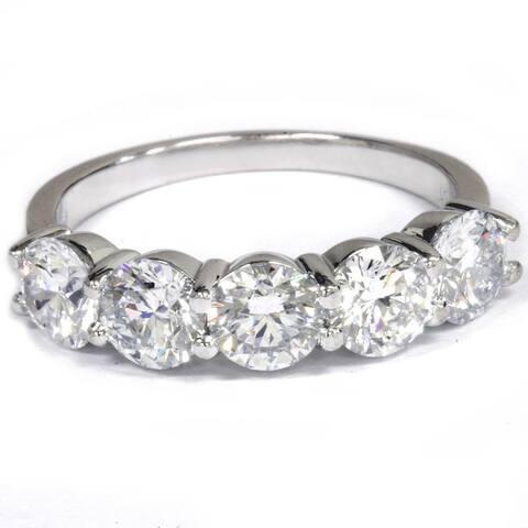 Pompeii3 14k White Gold 2 1/2 Ct TDW Diamond Five Stone Wedding Ring Lab Grown (G-H/VS1-VS2)