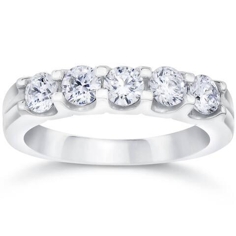 Pompeii3 14k White Gold 1 Ct TDW Diamond Five Stone Wedding Ring Lab Grown (G-H/VS1-VS2)