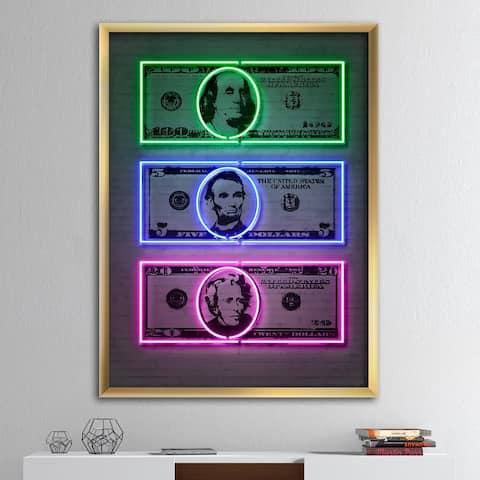 Designart 'Founding Fathers Neon Dollar' Modern & Contemporary Framed Art Print