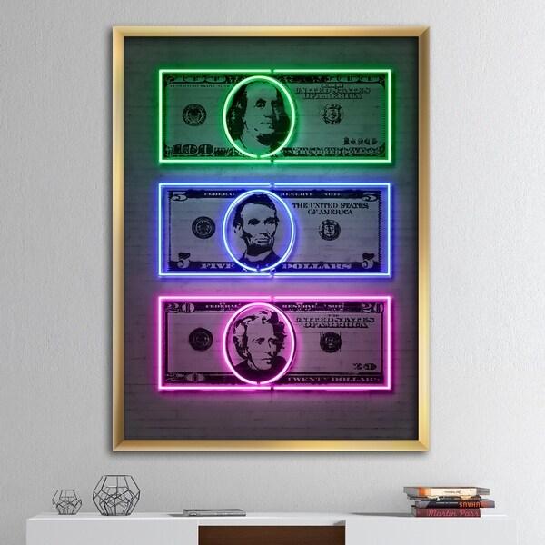Designart 'Founding Fathers Neon Dollar' Modern & Contemporary Framed Art Print. Opens flyout.