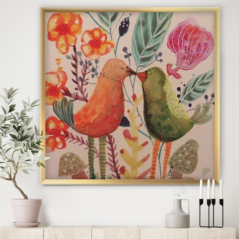 Designart 'Smiling Bird Kiss' Cottage Framed Art Print