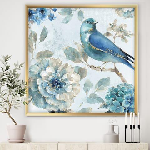 Designart 'Indigold Watercolor Lovely bird II' Farmhouse Framed Art Print