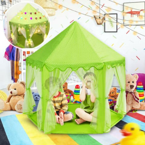 Princess Castle Tent for Kids Playhouse LED Star Lights(Green)