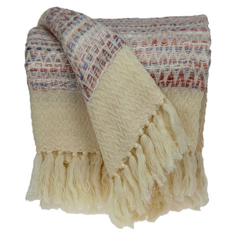 """Parkland Collection Daisy Transitional Multi 52"""" x 67"""" Woven Handloom Throw"""