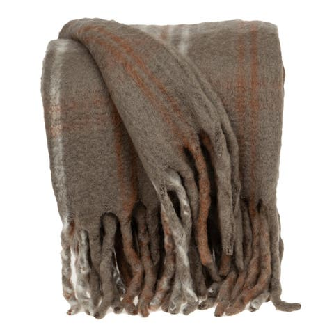 "Parkland Collection Madras Transitional Brown 52"" x 67"" Woven Handloom Throw"