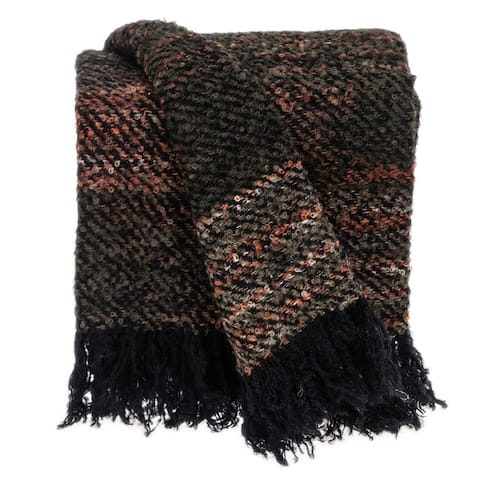 "Parkland Collection Gisele Transitional Black 52"" x 67"" Woven Handloom Throw"