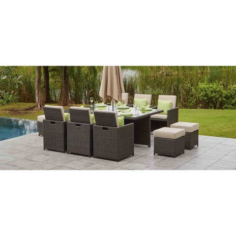 Moda 11-piece Outdoor Dining Set With Cushions Wicker Furniture