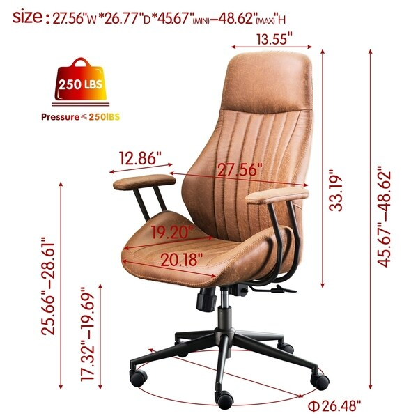 OVIOS Ergonomic Office Chair Modern Computer Desk Chair high Back Suede Fabric Desk Chair with Lumbar Support