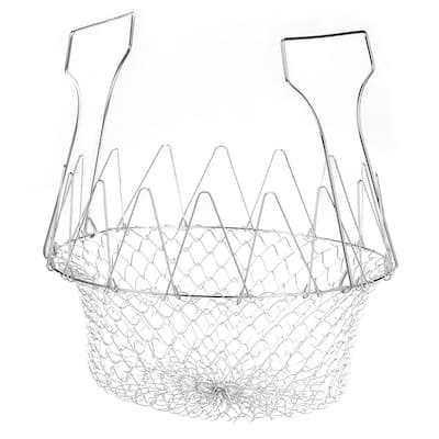 Deep Fry Cooking Basket, Stainless Steel Foldable Colander for Frying, Steaming