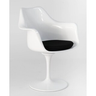 Modern Fiberglass Dining Chair with Arm- Black(Set of Two)