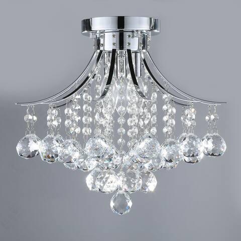 CO-Z 3-Light Crystal Raindrop Flush Mount Chandelier