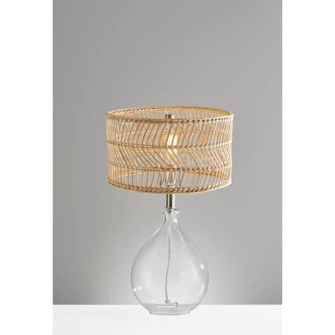 Adesso Glass & Brushed Steel Cuba Teardrop Table Lamp