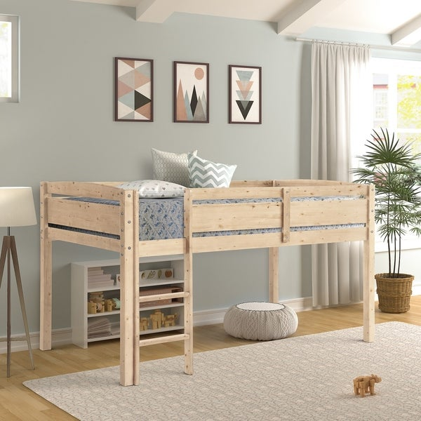 Taylor & Olive Hibiscus Wood Twin-size Low Loft Bed