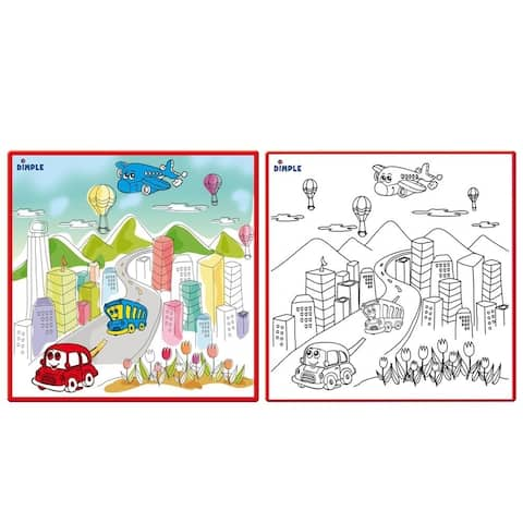 Dimple Large Washable Coloring Play Mat with Bustling City Life Design with 12 Washable Markers For Kids Learning