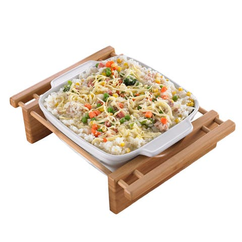 Creative Home Stoneware Square Dish with Bamboo Cradle