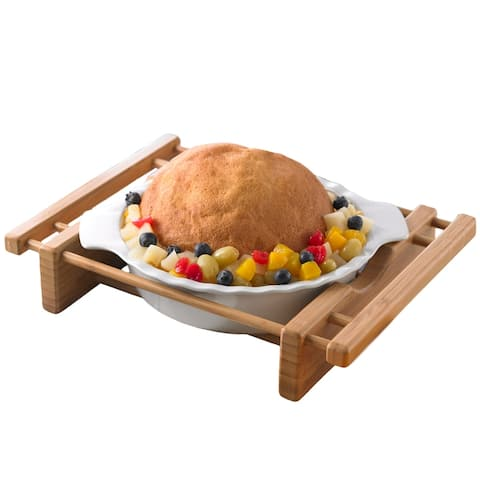 "Creative Home 10"" Stoneware Pie Dish with Bamboo Cradle"