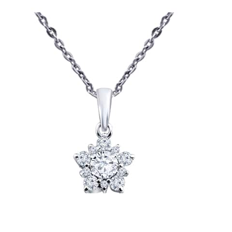 Moissanite Sterling Silver Round Chain Pendant by Orchid Jewelry
