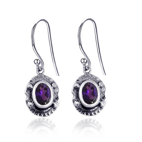 Amethyst, Emerald, Ruby, Citrine Sterling Silver Oval Dangle Earrings by Orchid Jewelry