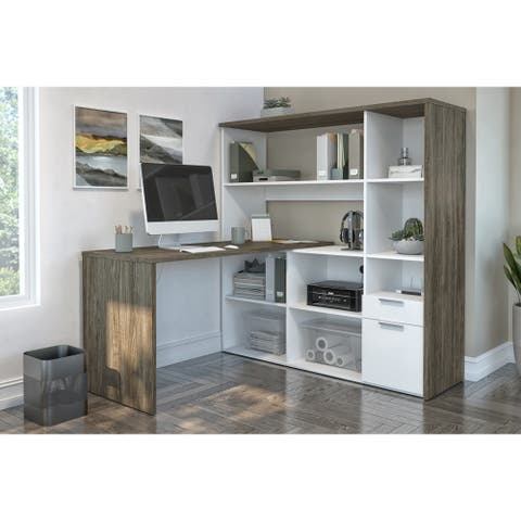 Bestar Gemma L-shaped Desk with Hutch