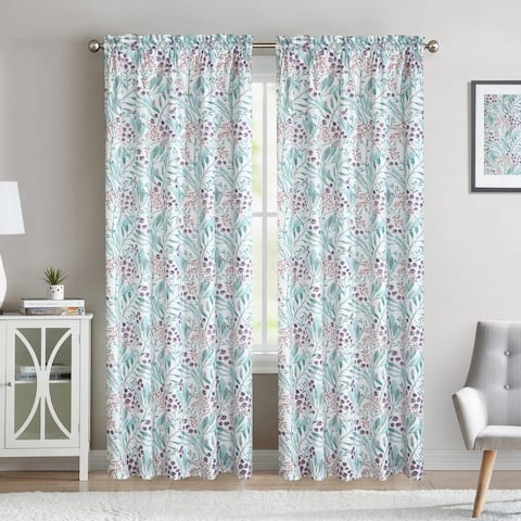 Purple Floral Bybery Curtain Panel - Set of Two