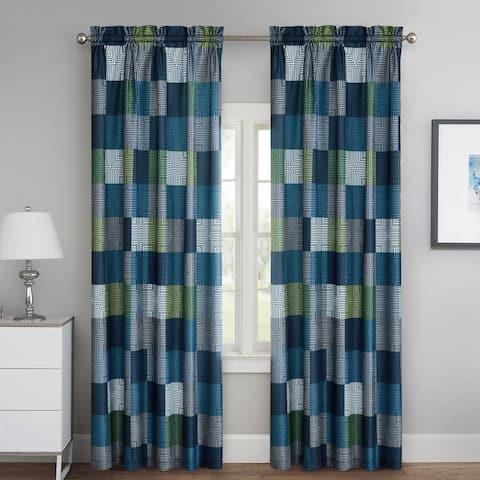 Blue Geo Block Curtain Panel - Set of Two