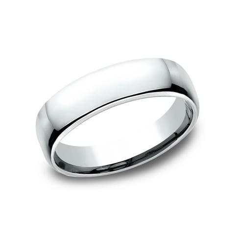 Men's 5.5mm 10k White Gold Low-dome Comfort-Fit Wedding Band