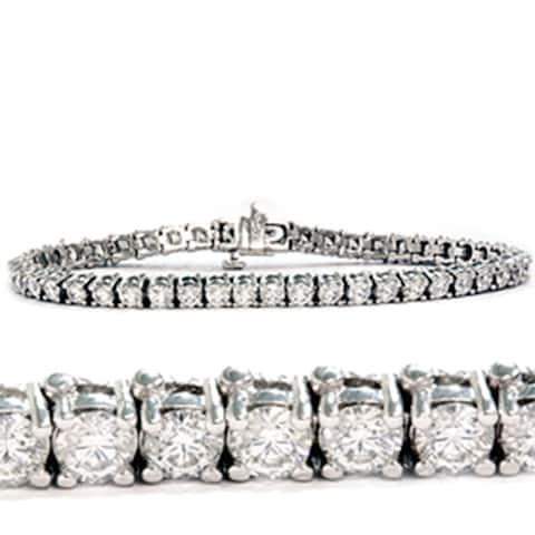 6ct Lab Grown Diamond Tennis Bracelet 18K White Gold 7 Inches