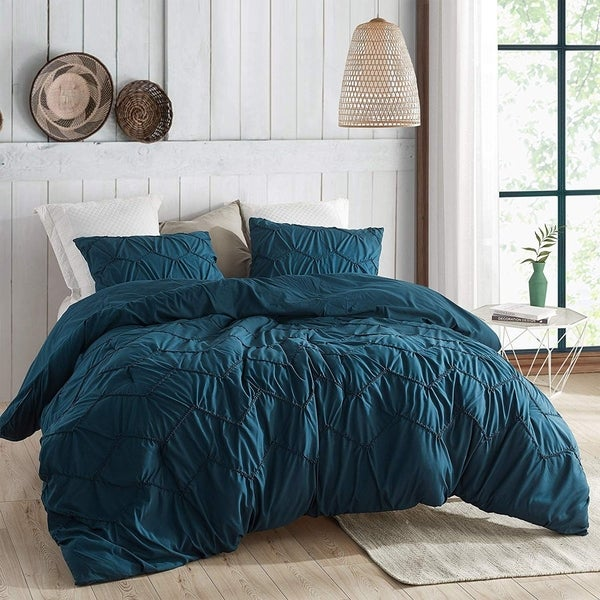 Textured Waves Comforter - Supersoft Nightfall Navy (As Is Item). Opens flyout.