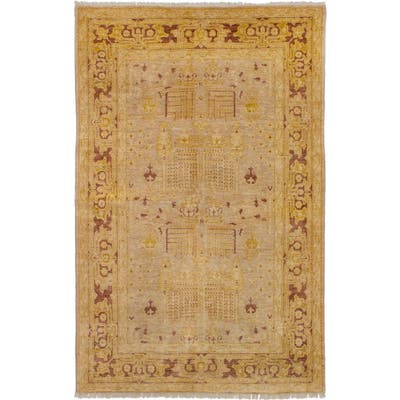 Hand-knotted Chobi Finest Tan Wool Rug