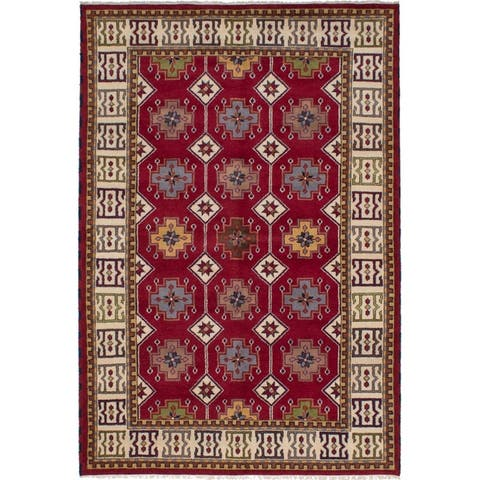 Hand-knotted Royal Kazak Red Wool Rug