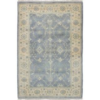 Hand-knotted Royal Ushak Grey Wool Rug - 4'0 x 5'11