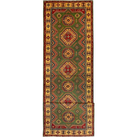 Hand-knotted Finest Gazni Green Wool Rug