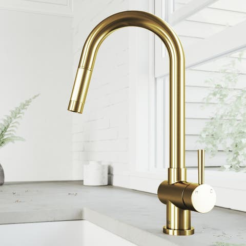 Gramercy Single-Hole 1-Handle Pull-Down Spray Kitchen Faucet in Matte Brushed Gold