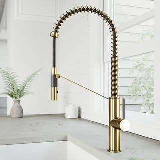 Single-Hole Magnetic Single-Handle Livingston Kitchen Faucet in Matte Brushed Gold