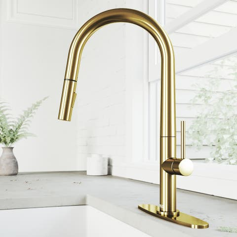 Greenwich 1-Handle Single Hole Deck Mount Pull-Down Kitchen Faucet and Deck Plate in Matte Brushed Gold