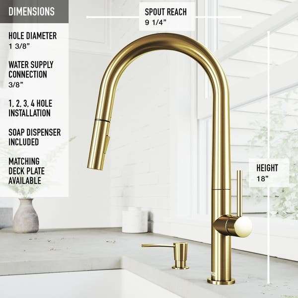 Greenwich Single Hole 1 Handle Pull Down Spray Kitchen Faucet And Soap Dispenser In Matte Brushed Gold Overstock 30237161