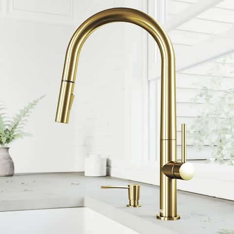 Greenwich Single-Hole 1-Handle Pull-Down Spray Kitchen Faucet and Soap Dispenser in Matte Brushed Gold