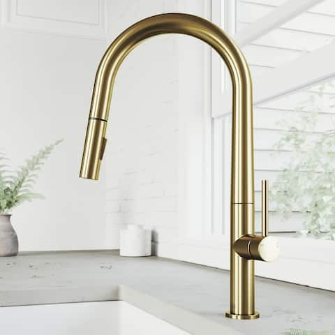 Single-Hole Single-Handle Greenwich Pull-Down Spray Kitchen Faucet in Matte Brushed Gold
