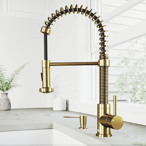 Edison Single-Hole 1-Handle Pull-Down Spray Kitchen Faucet and Soap Dispenser in Matte Brushed Gold
