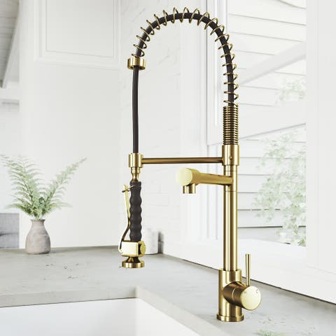 Zurich Single-Hole 1-Handle Pull-Down Spray Kitchen Faucet in Matte Brushed Gold