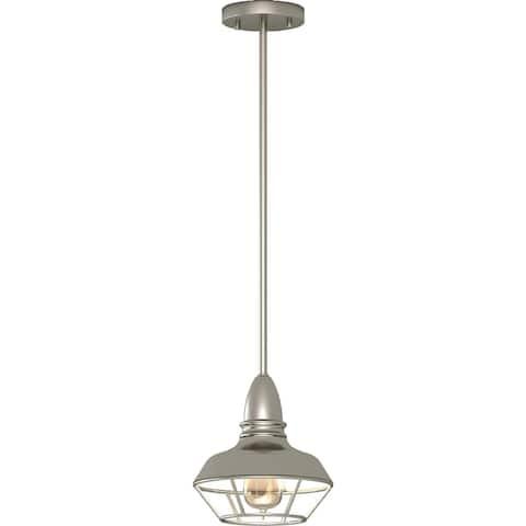 Volume Lighting 1-Light Brushed Nickel Mini Downrod Pendant